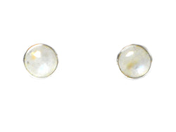 Round Moonstone Sterling Silver Stud Earrings 925 - 8 mm
