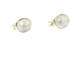 MOONSTONE Oval Shaped Sterling Silver Gemstone Ear Studs 925