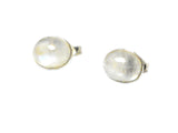MOONSTONE Oval Shaped Sterling Silver Gemstone Stud Earrings 925 - 8 x 10 mm