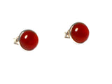 CARNELIAN Sterling Silver 925 Round STUD / Earrings - 7 mm - (CST2103161)