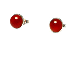 CARNELIAN Sterling Silver 925 Round STUD / Earrings