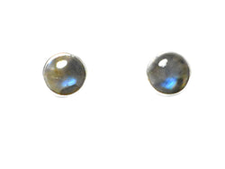 LABRADORITE Round Shaped Sterling Silver Earrings / STUDS