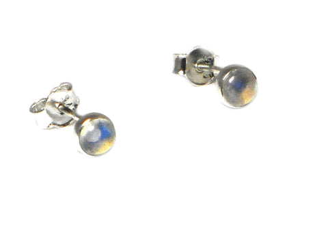 MOONSTONE Sterling Silver Gemstone STUD / Earrings 925 - 5 mm