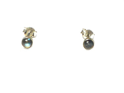 LABRADORITE Round Shaped Sterling Silver Gemstone Earrings / Studs 925  - 4 mm