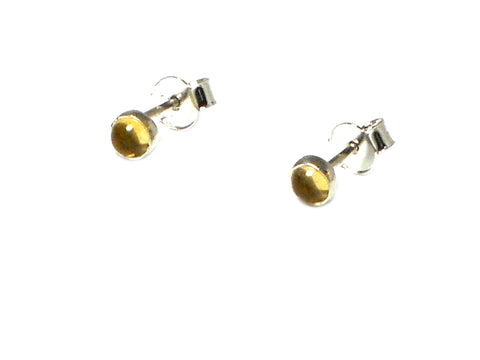 Round CITRINE Sterling Silver 925 Gemstone Earrings / STUDS - 5 mm