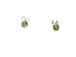 LABRADORITE Round Shaped Sterling Silver 925 Gemstone Ear Studs - 4 mm