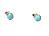 Round Blue LARIMAR Sterling Silver 925 Gemstone Stud Earrings - 6 mm