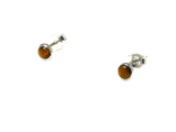 Round TIGER'S EYE Sterling Silver 925 Gemstone Stud Earrings - 4 mm