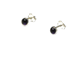 AMETHYST Round Sterling Silver Ear Studs 925 - 4 mm