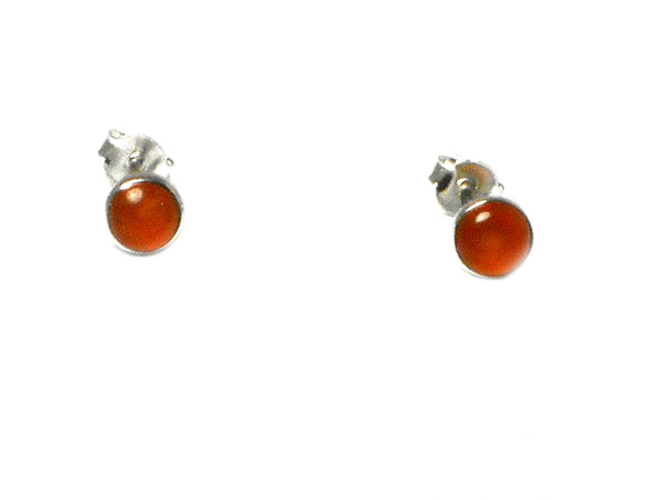 CARNELIAN Sterling Silver 925 Round STUD / Earrings - 4 mm