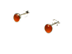 CARNELIAN Sterling Silver 925 Round Gemstone STUD / Earrings - 5 mm