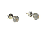 Round MOONSTONE Sterling Silver Stud Earrings 925 - 5 mm