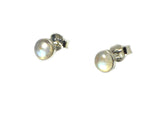 MOONSTONE Round Shaped Sterling Silver Gemstone Ear Studs 925 - 6 mm