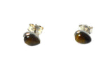 TIGER'S EYE Pear shaped Sterling Silver 925 STUD / Earrings