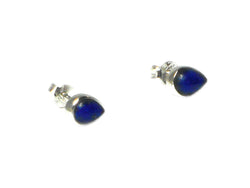 LAPIS LAZULI Pear shaped Sterling Silver Gemstone Earrings / Studs 925