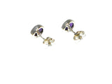 AMETHYST pear shaped Sterling Silver Gemstone Earrings / Studs 925