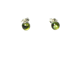Round PERIDOT Sterling Silver 925 Earrings / STUDS - 5 mm
