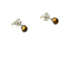 Round CITRINE Sterling Silver STUD Earrings / STUDS 925 - 4 mm