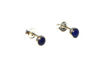 Round Blue LAPIS LAZULI Sterling Silver Stud Earrings 925 - 4 mm