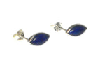 Blue LAPIS LAZULI Marquise Sterling Silver Stud Earrings 925 - 5 x 10 mm