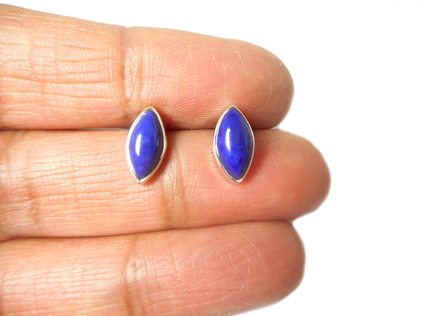 LAPIS LAZULI Marquise Sterling Silver Earrings / Studs 925 - 5 x 10 mm