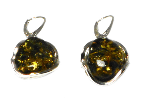 Large Baltic Green AMBER Sterling Silver Earrings 925