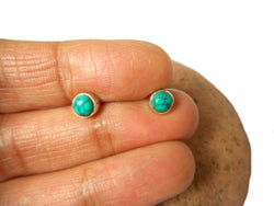 Round Shaped Blue Green TURQUOISE Sterling Silver 925 Gemstone Stud Earrings - 5 mm