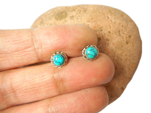 Round Shaped Blue/Green TURQUOISE Sterling Silver 925 Gemstone Stud Earrings - 5 mm