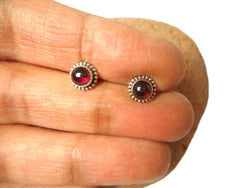 Round Red GARNET Sterling Silver Stud Earrings - 5 mm