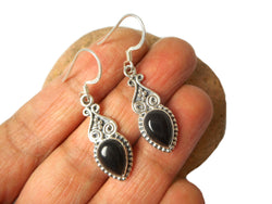Teardrop shaped BLACK ONYX Sterling Silver Earrings 925