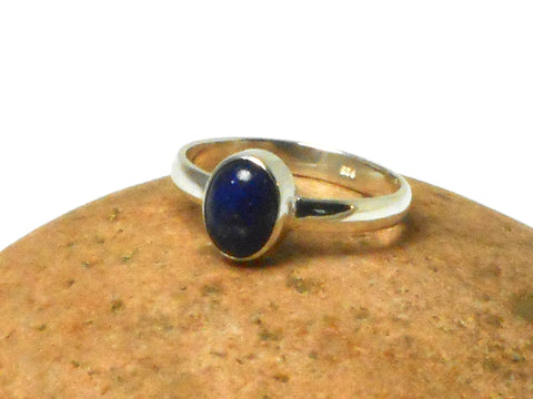Blue Oval shaped LAPIS LAZULI Sterling Silver Gemstone Ring 925