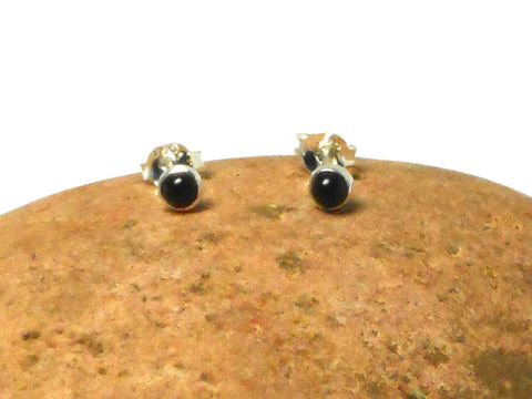 Small Round BLACK ONYX Sterling Silver Gemstone Stud Earrings 925 - 3 mm