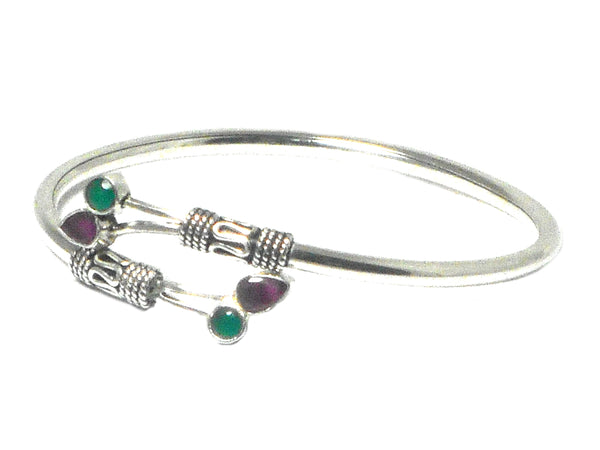 Adjustable EMERALD / RUBY Sterling Silver BANGLE - UK Hallmarked