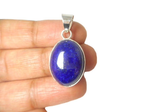 Oval LAPIS LAZULI Sterling Silver 925 Gemstone Pendant
