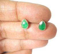 EMERALD Sterling Silver 925 Gemstone STUD/Earrings - 5 x 7 mm