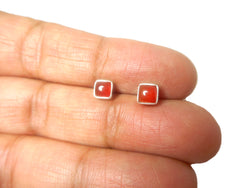 Square CARNELIAN Sterling Silver 925 Gemstone STUDS/Earrings