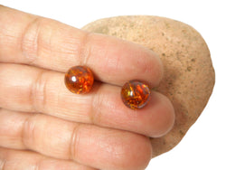 AMBER Sterling Silver Gemstone Round Stud Earrings 925 -  9 mm
