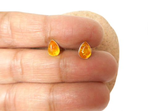 Cognac AMBER Sterling Silver Gemstone Teardrop Stud Earrings 925  - 6 x 8 mm