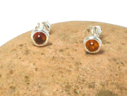 Round Cognac AMBER Sterling Silver Gemstone Stud Earrings 925  - 7 mm