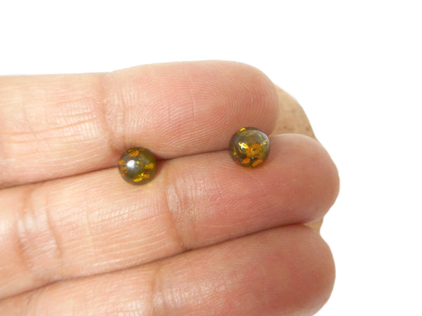 Green AMBER Sterling Silver Gemstone Round Stud Earrings 925  - 5 mm