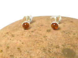 Cognac AMBER Sterling Silver Gemstone Round Stud Earrings 925 -  5 mm