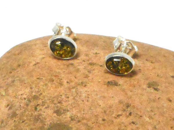 Green AMBER Sterling Silver Gemstone Oval Stud Earrings 925  - 6 x 8 mm