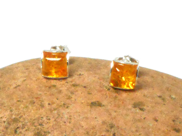 Cognac AMBER Sterling Silver Gemstone Square Stud Earrings 925 -  7 x 7 mm