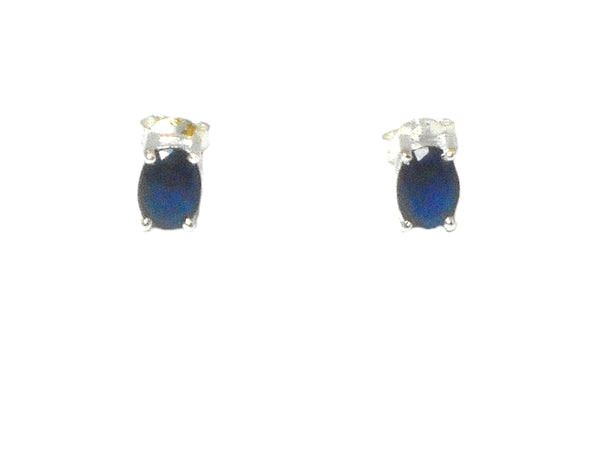 Blue Women's Oval SAPPHIRE Sterling Silver Earrings/Studs 925-5 x 7 mm