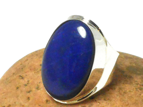 Chunky  Blue  Lapis LAZULI  Oval Sterling Silver Gemstone Ring 925  -  Size: T