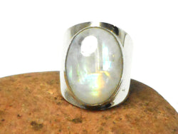 Oval Moonstone Sterling Silver 925 Gemstone Ring - Size T