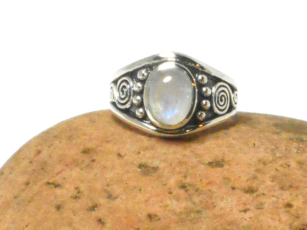 Fiery Oval Moonstone Sterling Silver 925 Gemstone Ring - Gift Boxed