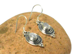 Oval MOONSTONE Sterling Silver Gemstone Earrings 925