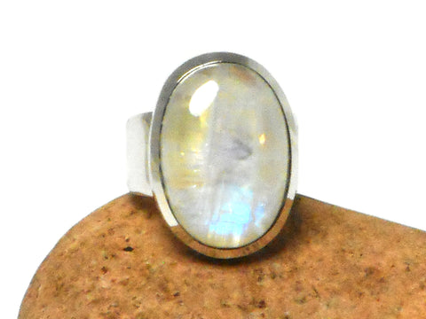 Grade 'A' Oval Moonstone Sterling Silver 925 Gemstone Ring - Size R