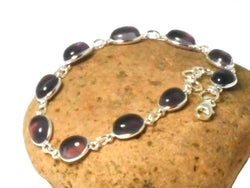 Oval Purple Amethyst Gemstone Sterling Silver 925 Bracelet